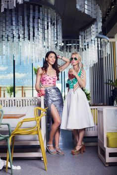 Diana from The Fabulous Muses in the Nasty Gal Waves of Light Sequin Midi Skirt (left) || Get the skirt: http://www.nastygal.com/sale/nasty-gal-waves-of-light-midi-skirt?utm_source=pinterest&utm_medium=smm&utm_term=ngdib&utm_content=nasty_gals_do_it_better&utm_campaign=pinterest_nastygal