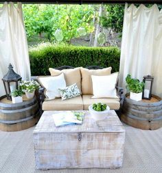 Love the half barrels as side tables