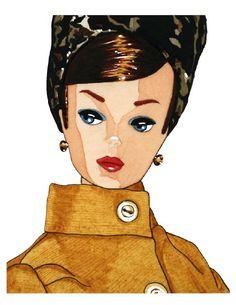 Mustard Topper Vintage Barbie 8x10 Watercolor Print by cheryloz, $25.00