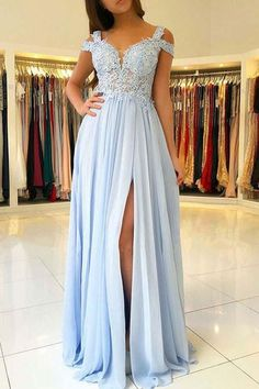 A-Line Light Blue Chiffon Prom Dress with Appliques P3199