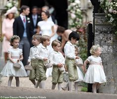 George and Charlotte with the other pageboys and flower girls at Pippa's wedding.
