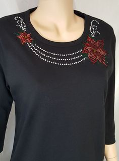 Poinsettia Bling Christmas Shirt with Rhinestone by UpscaleStNick Embroidery Suits Punjabi, Embroidery On Kurtis, Hand Embroidery Dress, Kurti Embroidery Design, Embroidery Neck Designs, Embroidery On Clothes, Hand Embroidery Stitches, Embroidery Fashion, Beaded Embroidery