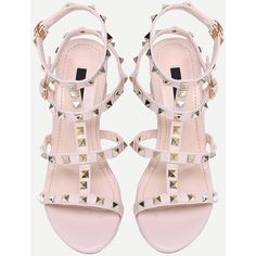 Apricot Metal Decorated Buckle Strap Chunky Sandals ($45) ❤ liked on Polyvore featuring shoes, sandals, ankle strap platform sandals, strappy sandals, ankle wrap sandals, platform shoes and chunky-heel sandals