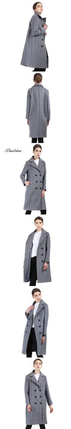 Women Stripped Long Cashmere Coat 2017 New Woolen Coat Women Winter Jacket Overcoat Female Outwear Casaco Feminino Trench