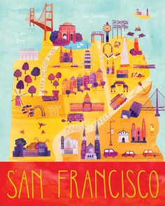 "Here & There - City Map Illustrations. Cityscape illustrations of Paris, San Francisco, Vancouver, Venice, and Milwaukee from the series ""Here & Quotes Together, San Francisco Map, Voyage Rome, Golden Gate Park, San Fransisco, California Dreamin', Map Design, City Maps, Travel Maps"