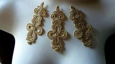 3 Gold Lace Appliques in Metallic Gold Venice Lace for Bridal, Headbands, Jewelry, Costume Design CA 753