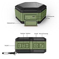 Portable Waterproof Bluetooth Speaker Wireless Speaker NFC Mini Outdoor HIFI Speaker Box Hands-Free Speakerphone with Built-in MIC, Stereo Sound, over 8 Hours Playtime-Green
