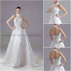 Aliexpress.com : Buy Custom Made A line Halter Sweep Train Satin with Appliques Wedding Dresses from Reliable satin halter wedding dress suppliers on HONEYSTORE CO., LIMITED $550.98