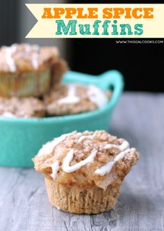 Apple Spice Muffins from www.thisgalcooks.com #muffins #apples #breakfast