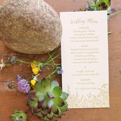 daisi rang, menu cards, artcadiacouk daisi, wedding menu