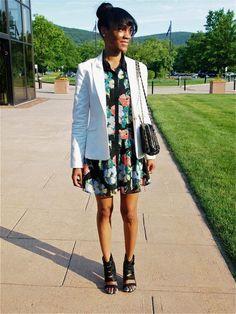 love the white blazer over the dark floral dress