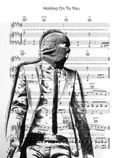 Twenty one pilots fan art. Tyler Joseph ski mask. Sheet music for holding on to you