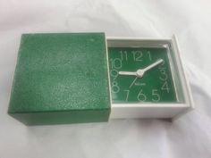 Bulova Alarm Clock, Sliding Box, Travel Clock, Vintage, Green and White (B0035) by StoredStuffandMore on Etsy