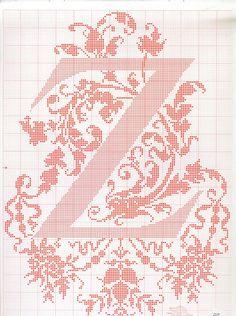 "cross stitch alphabet in 2 colors- very ornate monogram 26 single letters -- ""Z"" #26"