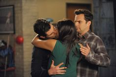 Pin for Later: 33 of TV's Sexiest, Sweetest, and Spine-Tingliest Kisses in 2016 New Girl Schmidt (Max Greenfield) and Cece (Hannah Simone) get a little too close for Nick's (Jake Johnson) comfort.