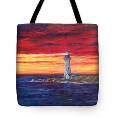 MARIEN'S VIEW Tote Bag for sale by T Fry-Green. $26.00 The tote bag is machine washable, available in three different sizes, and includes a black strap for easy carrying on your shoulder. All totes are available for worldwide shipping and include a money-back guarantee. #lighthouse #redandyellow #red #yellow #sunset #blue #water #ocean #island #lighthouseisland #waves #fashionbag #tfrygreenart #tfrygreen #homeatlaststudio #art #original #tote #toteart #fineartamerica