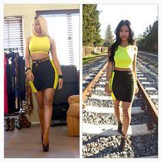 """Nicki Minaj Inspired x Nicki Minaj Collection  Outfit details: Black & Yellow Colorblock Knit Pencil Skirt, Black & Yellow Cropped Racerback Tank, and…"""