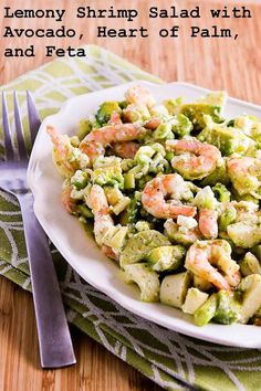 Lemony Shrimp Salad with Avocado, Heart of Palm, and Feta; so delicious! [from KalynsKitchen.com] #LowCarb #GlutenFree #Shrimp #Feta