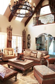 Tuscan living room with old world charm.