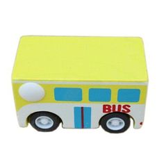 1 Pc Mini Pull-Back Car Wooden Vehicle Baby Toy Models, Bus