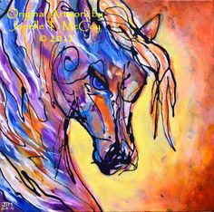 """Western Art International: Abstract Horse Art by Oklahoma Contemporary Equine Artist Jonelle T. McCoy """"Alive Inside"""""""