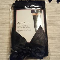 SEXY lace up ribbon corset with thigh highs Black corset,  lace up with ribbon,  thigh high tights with bows on top- black,  black lace glove with connected ring,  and black lace choker to match. Never worn. Intimates & Sleepwear