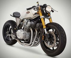 1980 HONDA CB750F CAFE RACER BY CLASSIFIED MOTO.  If motorcycles were dogs, this one would be a bulldog.  Tough!