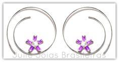 Brincos argola em prata 950 e ametista (950 silver hoop earrings with amethyst)