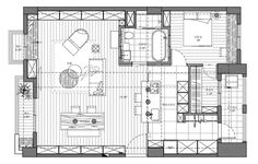 ~ Living a Beautiful Life ~ DECOmyplace Small Apartment Plans, Apartment Floor Plans, Apartment Layout, Single Apartment, New House Plans, Small House Plans, House Floor Plans, Hotel Floor Plan, Craftsman Floor Plans