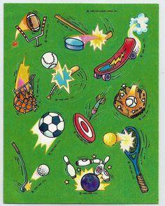 Stickers Vintage 1 sheet Hallmark whimsical SPORTS EQUIPMENT Extremist '88 A1-22 #Hallmark #Stickers