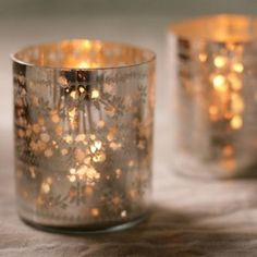 Sparkling Silver T Light Holder  Maybe put stencils into cups, spray w silver, remove stencil/