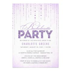 Glitter Look Bachelorette Party Invitation - maybe change to teal color