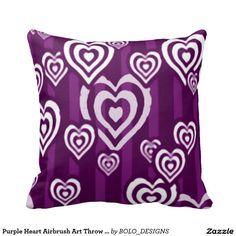 Purple Heart Airbrush Art Throw Pillow
