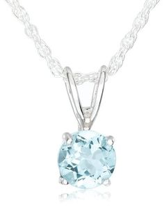 "Sterling Silver 6mm Round Blue Topaz Pendant Necklace with Light Rope Chain Necklace, 18"" - $16.00 (SAVE 62%)  http://astore.amazon.com/lucysjewels-20/detail/B001941T4W"