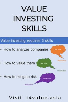 There are 3 skills you need to develop in order to be a successful value investor. First, you have to analyze companies. Next, you need to value them. Then you have to mitigate against risk. The blog is dedicated to learning how to invest using readily available free online resources. A selected URL of the resources is provided to develop 2 basic skills - how to analyze a business and how to value a business. #i4value #learntoinvest #valueinvesting #stockmarket #investment Value Investing, Investing In Stocks, Fundamental Analysis, Technical Analysis, Investment Books, Intrinsic Value, Company Financials, Dividend Investing