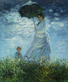 "Claude Monet captured his family in ""Madame Monet and her Son."" This masterpiece, originally painted in 1875, depicts Monet's first wife Claude and their eldest son, Jean. Hand painted oil painting reproduction (also In the Victorian era art 1837-1901)"