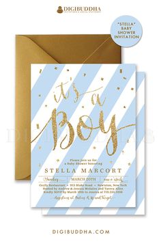 "Baby blue stripe and gold glitter ""It's A Boy!"" baby shower invitations with gold glitter confetti sprinkles and modern stripes. Choose from ready made printed invitations with envelopes or printable baby shower invitations. Gold shimmer envelopes and matching envelope liners available at digibuddha.com"