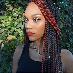 Black Box Braids with a Pop of Red