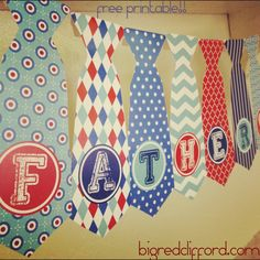 father's day tie banner : free printable!