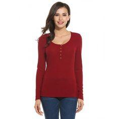 Women Casual Rib Long Sleeve O Neck Solid Slim Pullover T-Shirt