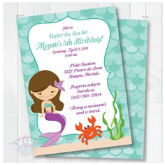 This Mermaid Birthday Party Invitation features a colorful mermaid which can be personalized (hair color, eye color and skin color) so your birthday invitation can truly reflect the birthday girl!. Finish it off with some upgraded purple envelopes and some return address labels and you're set to make a big splash when these birthday invitations arrive in your guests' mailboxes.