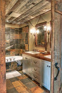 A Barnwood Beauty Cabin Bathrooms, Primitive Bathrooms, Rustic Bathrooms, Dream Bathrooms, Minnesota, Rustic Backyard, Backyard Ideas, Budget Bathroom, Bathroom Ideas
