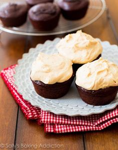 Skinny Chocolate Cupcakes with Peanut Butter Greek Yogurt Frosting at sallysbakingaddiction.com