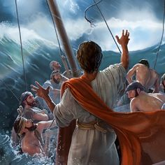 Jesus miraculously calms the windstorm
