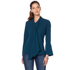 DG2 by Diane Gilman Bell-Sleeve Blouse with Tie Neck - Green