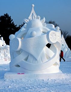 Stunning snow sculptures-Sculpture at the annual snow and ice sculpture competition in Harbin, China, Jan. 13, 2012.