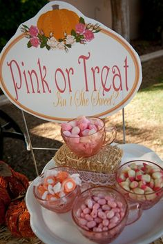 """love this """"pink or treat"""" for an october shower."""