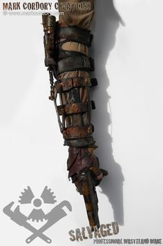 Post Apocalypse Mad Max inspired arm and elbow brace made for Airsoft LARP. Made by Mark Cordory Creations. Enquiries always welcome via www.markcordory.com