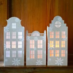 Make these beautiful Dutch House Luminaries for the holiday season; printable templates included.  Great as cards or for windows too!