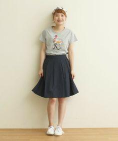 CHILD WOMAN(チャイルドウーマン)の40/2天竺 フラミンゴスパンコールT-シャツ(Tシャツ・カットソー)|グレー